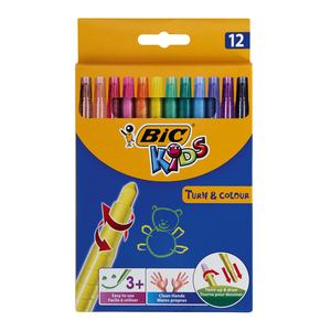 BIC Turn & Colour Wax Crayons 12s
