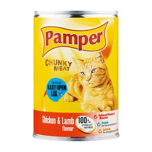 Purina Pamper Chicken & Lamb Tinnned Ca t Food 400g