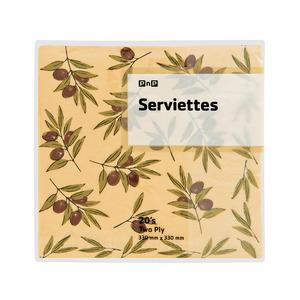 PnP 2 Ply Serviettes Olive 20ea