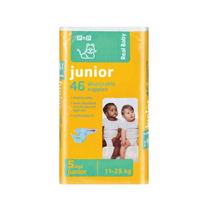 PnP Real Baby Nappies Size 5 J unior 11-25kg 46ea