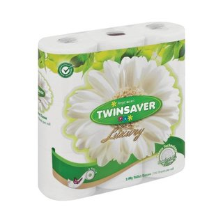 Twinsaver 2 Ply White Luxury Toilet Paper 9s x 8