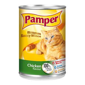 Purina Pamper Chicken Saucy Mince Tinne d Cat Food 385g