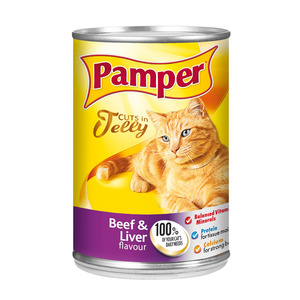 Purina Pamper Beef & Liver in Jelly Tinn ed Cat Food 385g