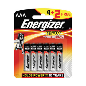 Energizer Batteries Max AAA 6s