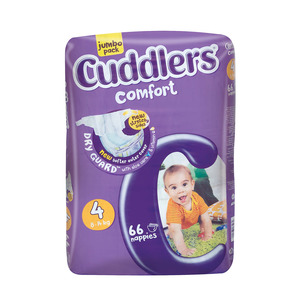 Cuddlers Comfort Diapers Size4 8-14kg 66s