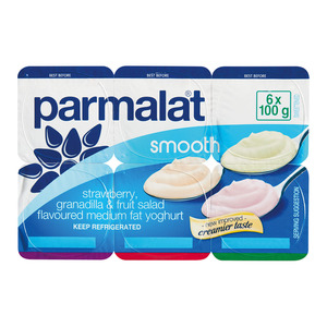 Parmalat Medium Fat Smooth Strawberry Granadilla & Fruit Salad Yoghurt 6s