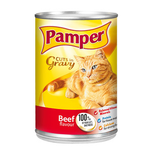 Purina Pamper Beef Cuts in Gravy Tinne d Cat Food 385g