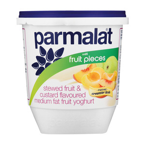Parmalat Low Fat Stewed Fruit & Custard Yoghurt with Fruit Pieces 1kg