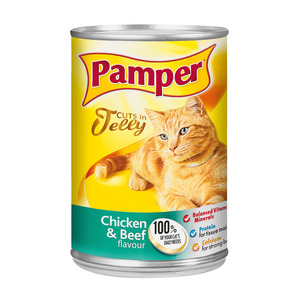 Purina Pamper Chicken & Beef in Jelly Ti nned Cat Food 385g
