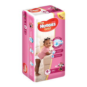 Huggies Gold Nappies Girl 12-16kg Size 4+ 54s