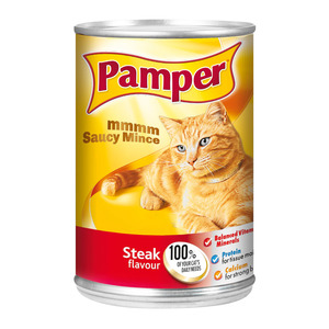Purina Pamper Steak Saucy Mince Tinned C at Food 385g