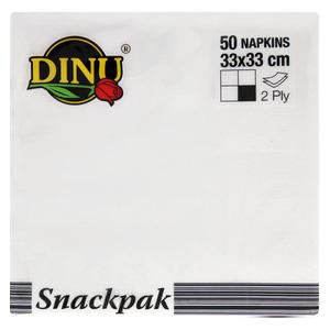 Dinu Snack Pack White Serviettes 50ea