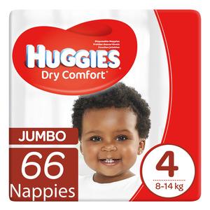 Huggies Dry Comfort Nappies Size 4 Jumbo 66s