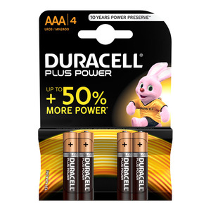 Duracell Alkaline Batteries Plus Power AAA 4s