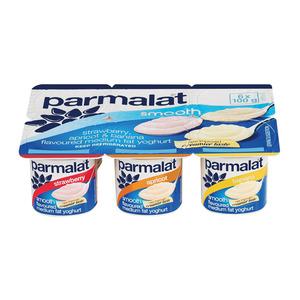 Parmalat Low Fat Smooth Strawberry Apricot & Banana Yoghurt 6s