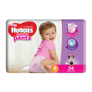 Huggies Nappy Pants Girl Size 4 34s