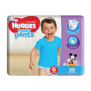 Huggies Nappy Pants Boy Size 6 30s