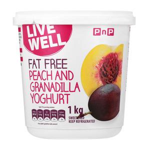 PnP Live Well Fat Free Peach & Granadilla Yoghurt 1kg