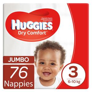 Huggies Dry Comfort Nappies Size 3 Jumbo 76s