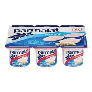 Parmalat Low Fat Smooth Strawberry Yoghurt 6s