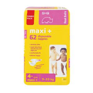 PnP Real Baby Nappie Maxi Pl us Jumbo 62ea