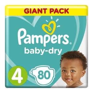 Pampers Active Baby Nappies Maxi Giant Pack 80s