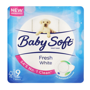 Baby Soft Toilet Paper 2 Ply White 9s x 6