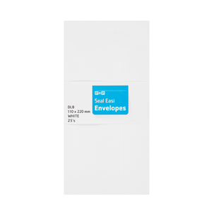 PnP Double White Envelopes White Seal Easi 25ea