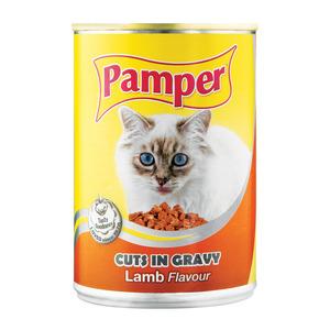 Purina Pamper Lamb Cuts in Gravy Tinne d Cat Food 385g