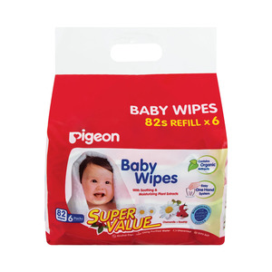 Pigeon Baby Wipes 82s Refill x 6s