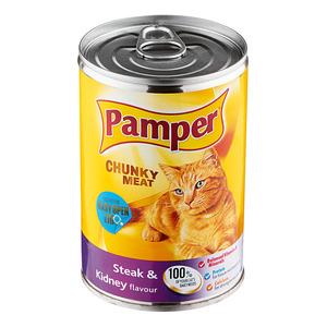 Purina Pamper Steak & Kidney Tinned Ca t Food 400g