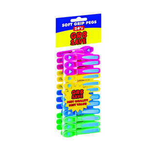 Gr8 Save Soft Grip Plast Pegs 24ea