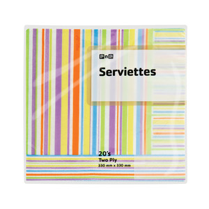 PnP 2 Ply Serviettes Striped 20s