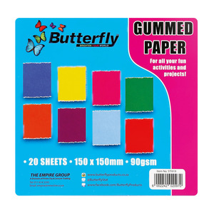 Butterfly Empire Toy Gummed Paper Square  150x150 20ea