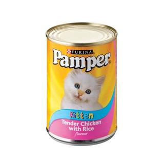 Purina Pamper Tender Chicken with Rice T inned Kitten Food 400g