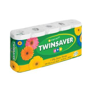 Twinsaver 1 Ply White Toilet Paper 10ea