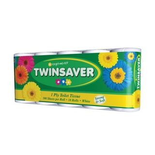 Twinsaver 1 Ply White Toilet Paper 10ea x 6