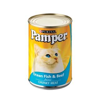Purina Pamper Ocean Fish & Beef Tinned C at Food 400g